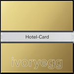 Hotel card button Inscription space System 55 brass