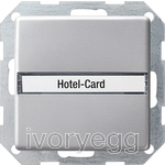 Hotel card button Inscription space Gira E22 aluminium