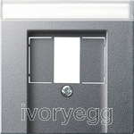Cover inscription space TAE USB System 55 Colour Aluminium