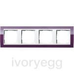 Cover frame, 4-gang for pure white Gira Event Clear aubergine
