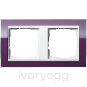 Cover frame, 2-gang for pure white Gira Event Clear aubergine