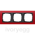 Cover frame, 3-gang for anthracite Gira Event Opaque red