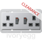 CLEARANCE ITEM - GIRA British Standard Switched Double Mains Socket in Aluminium