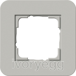 E3 Cover frame 1-gang, grey soft touch with pure white glossy intermediate frame