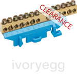 CLEARANCE ITEM - HAGER Brass Terminal Bar with Neutral Support 85mm - 6x16mm +  7x10mm