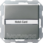 Hotel card button Inscription space Gira E22 Stainless Steel