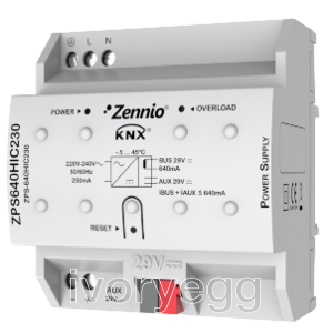 KNX power  supply  640mA  plus 29VDC ancillary power supply. Vin: 230VAC