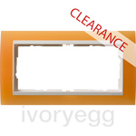 CLEARANCE ITEM - GIRA Event 2 Gang Frame Opaque Orange for Pure White Insert Without Crossbar