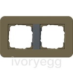 E3 Cover frame 2-gang, Umber Soft Touch with anthracite intermediate frame