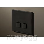 2 Button Select KNX Keypad Matt Black RAL9011 with RGB LED and RTC