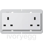 British Standard Unswitched Double Mains Socket in pure white