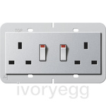 CLEARANCE ITEM - British Standard Switched Double Mains Socket in Colour Aluminium