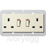 British Standard Switched Double Mains Socket in cream white