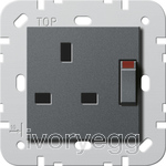 British Standard Switched Mains Socket in Anthracite