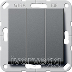 System 55 Rocker switch 2-way, 3-gang anthracite