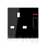 Centre plate for switched 13A BS socket with indicator light, black