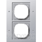 TX 44 (WP FM) Cover frame 2-gang, Colour Aluminium