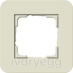 E3 Cover frame 1-gang, sand soft touch with pure white glossy intermediate frame