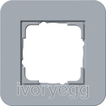 E3 Cover frame 1-gang, Blue Grey Soft Touch with Pure White Glossy intermediate frame