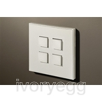 4 Button Select KNX Keypad Matt White RAL9010  with RGB LED and RTC