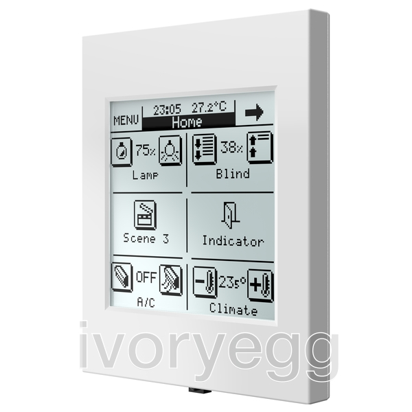 inzennio z38i knx touch panel white ivory egg. Black Bedroom Furniture Sets. Home Design Ideas