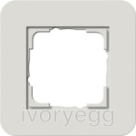 E3 Cover frame 1-gang, Light Grey Soft Touch with Pure White Glossy intermediate frame