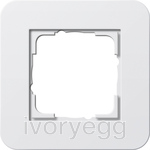 E3 Cover frame 1-gang, pure white glossy with pure white glossy intermediate frame