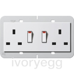 British Standard Switched Double Mains Socket in pure white