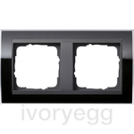 Cover frame, 2-gang for anthracite Gira Event Clear black