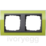 Cover frame, 2-gang for anthracite Gira Event Clear green