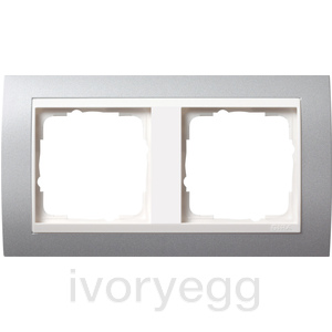 Cover frame, 2-gang for pure white Gira Event Colour Aluminium