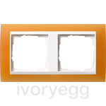 Cover frame, 2-gang for pure white Gira Event Opaque orange