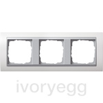 Cover frame, 3-gang frame  Colour Aluminium Gira Event pure white