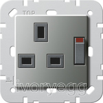British Standard Switched Mains Socket in Stainless Steel