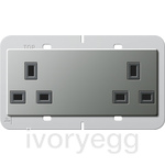 British Standard Unswitched Double Mains Socket in Stainless Steel