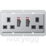 British Standard Switched with Illumination Double Mains Socket in Aluminium