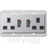 British Standard Switched Double Mains Socket in Aluminium