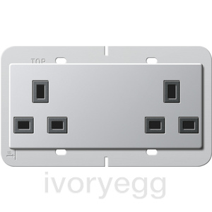 British Standard Unswitched Double Mains Socket in Aluminium