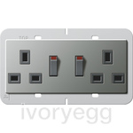 British Standard Switched Double Mains Socket in Stainless Steel