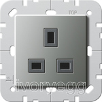 British Standard un-switched mains socket 13A in Stainless Steel