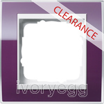 CLEARANCE ITEM - GIRA Cover frame, 1-gang for pure white Gira Event Clear aubergine