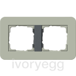 E3 Cover frame 2-gang, Grey Green Soft Touch with anthracite intermediate frame