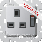 CLEARANCE ITEM - GIRA British Standard Switched Mains Socket in Aluminium