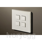 4 Button Select KNX Keypad Textured White RAL9010 with RGB LED and RTC