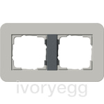 E3 Cover frame 2-gang, Grey Soft Touch with anthracite intermediate frame