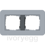 E3 Cover frame 2-gang, Blue Grey Soft Touch with anthracite intermediate frame