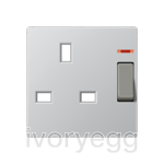 Centre plate for switched 13A BS socket with indicator light, aluminium