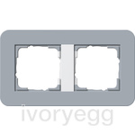E3 Cover frame 2-gang, blue grey soft touch with pure white glossy intermediate frame