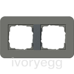 E3 Cover frame 2-gang, dark grey soft touch with anthracite intermediate frame