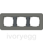 E3 Cover frame 3-gang, Dark Grey Soft Touch with anthracite intermediate frame